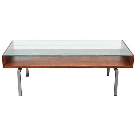 Mid Century Modern Coffee Table Glass Mid Century Modern Rosewood Glass Top Coffee Table At 1stdibs