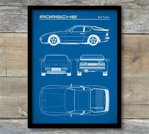 porsche turbo poster patent print porsche 944 turbo blueprint porsche 944