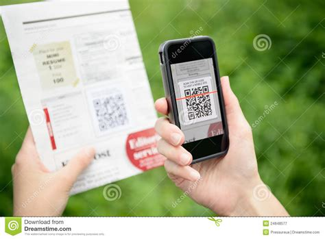 iphone q r code scanning advertising with qr code on apple iphone editorial photography image of equipment