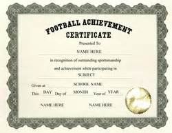Free Football Certificate Templates by Free Certificate Templates For Elementary School