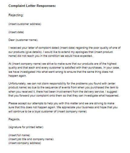 complaint letter response rejecting letter