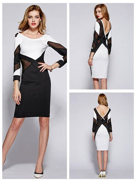 Color Block Sleeve White Dress black white color block sleeves sheath dress