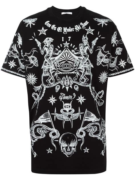 tattoo shirts for men lyst givenchy print t shirt in black for