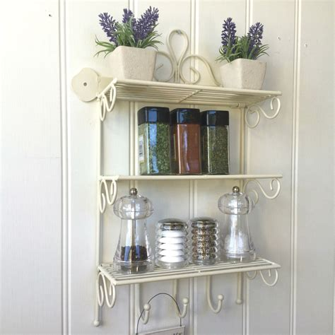 shabby chic wall shelf shabby chic metal wall shelf unit hooks storage kitchen