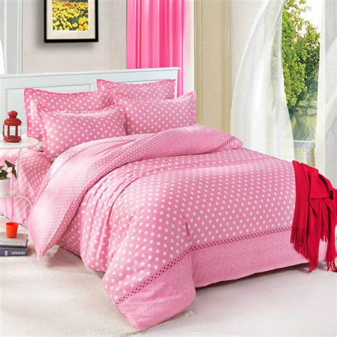 Tommony Bed Cover Single pink dot single king size bed set pillowcase quilt duvet cover ebay