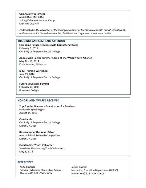 Resume Format For by Sle Resume Format For Fresh Graduates Two Page Format