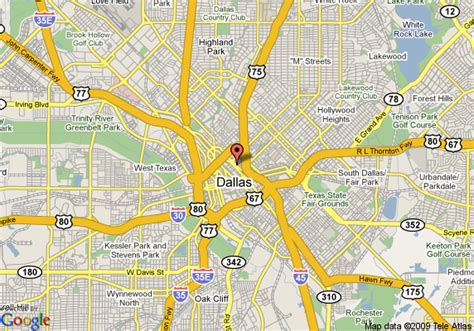 dallas texas city map scripts and ballrooms on