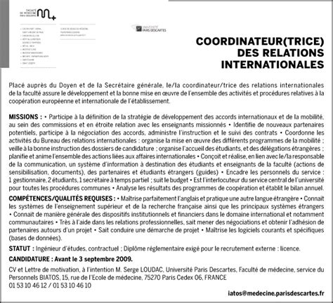 Lettre De Motivation Candidature Spontanée Education Nationale Coordinateur Des Relations Internationales H F Talents Fr