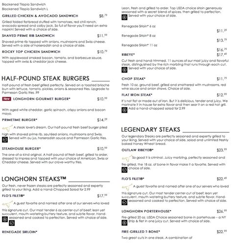 longhorn steak house menu menu for longhorn steakhouse 2375 s university dr
