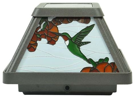 stained glass post light moonrays southwire hummingbird solar led stained glass