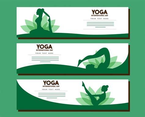 banner design for yoga yoga banner sets female gestures in green design free