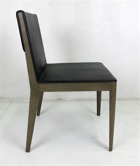 set of six grey oak and leather el dining chairs by b b