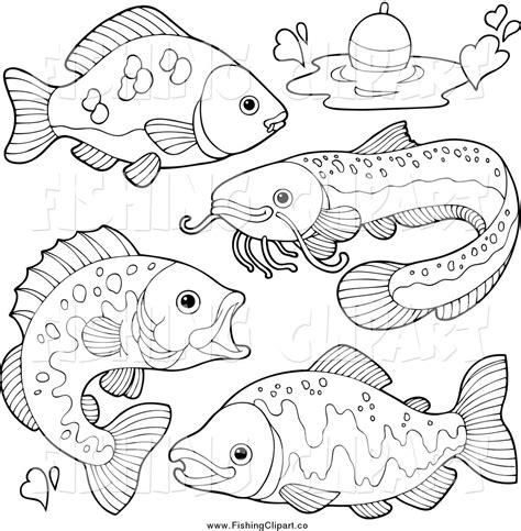 river fish coloring pages clip art of black and white river fish and a bob by