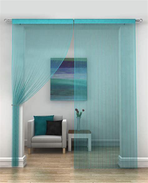 teal door curtain classic string fringe panel divider window door curtain