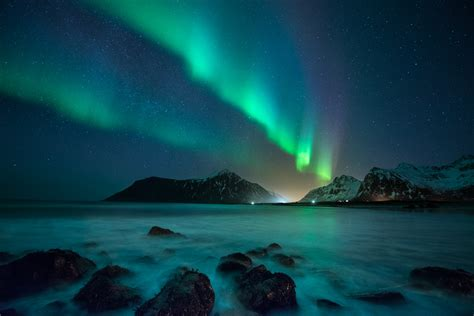 norway march northern lights the lofoten islands norway clorith