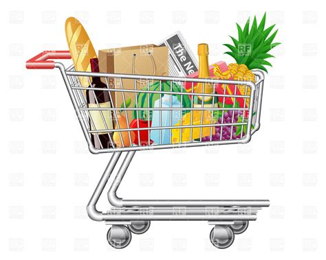 sketch book comprar shopping cart with purchases and foods royalty free vector