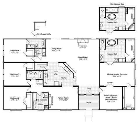 floorplan or floor plan the hacienda iii 41764a manufactured home floor plan or modular floor plans