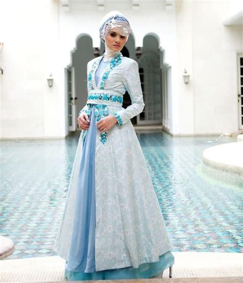 Busana Gaun Gaun Pengantin Muslimah Biru 4 Busana Pengantin