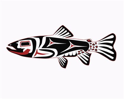 tribal trout tattoo fish haida trout digital by rob tullis haida