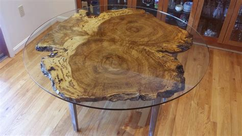 live edge table with glass and poplar burl timber salvabrani bookmatch burl table oe custom