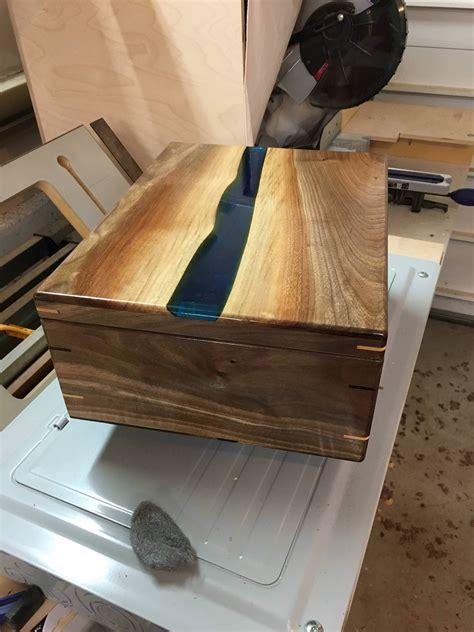 epoxy river box wine box build woodworking