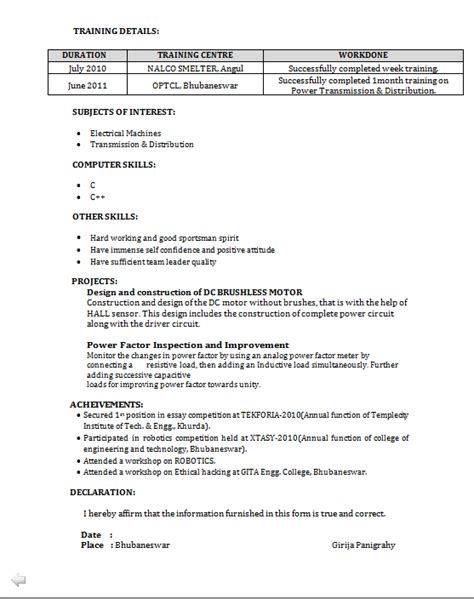 Resume Format Pdf For Eee Engineering Freshers Eee Fresher Resume Sle
