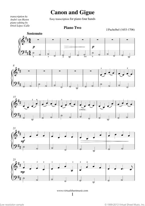 printable piano sheet music canon in d free sheet music pachelbel canon piano solo pachelbel