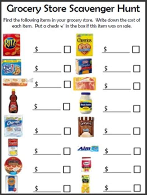 free grocery store scavenger hunt printable   free
