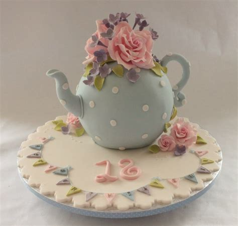 beatuiful tea pot ladies birthday cake with sugar roses and flowers marianne s cakes