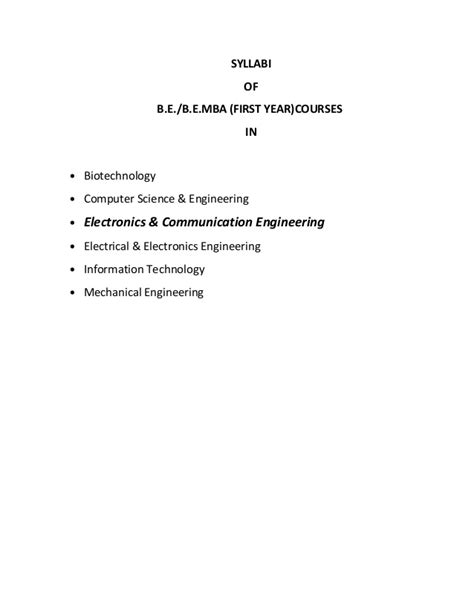 Mba In Computer Science Syllabus by Be Ece 1st Year