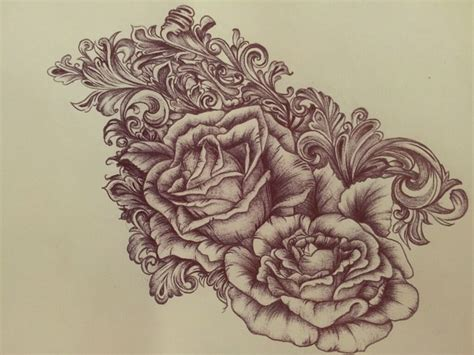 victorian rose tattoo scrollwork drawing www imgkid the image