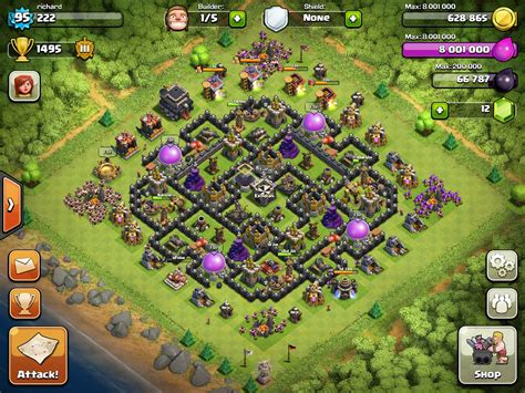 th9 layout update clash of clans level 9 town hall farming setup www