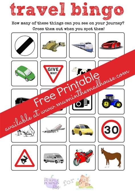printable games car journey uk trips cars and bingo on pinterest