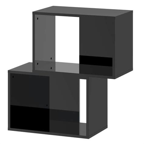 stackable bookcase in black high gloss 71529aj