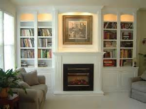 attractive built in bookshelves around fireplace home
