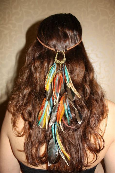 diy hippie hairstyles april fire feather leather headband handmade hippie hair