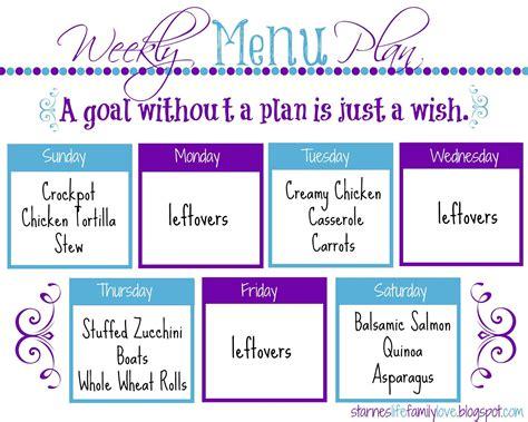 menu for the week template family menu plan week of 01 04 15