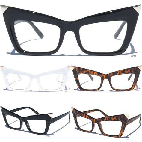 cat eye retro frame clear lens glasses
