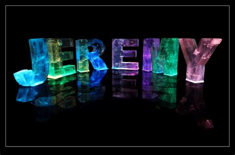 the name jeremy in 3d coloured lights