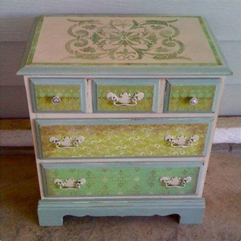 Stencil Dresser by Cool Colors Stencil On The Dresser Painted Furniture