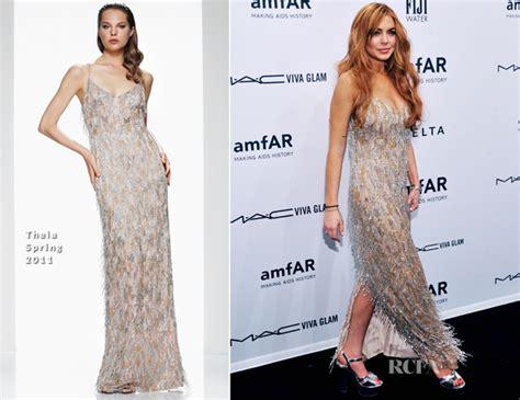 Lindsay Lohans Graces The Ny Fashion Week by Lindsay Lohan In Theia Amfar New York Gala To Kick
