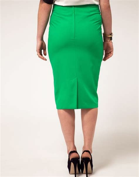 asos curve exclusive pencil skirt with pleat waist in