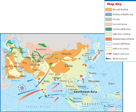 monsoon asia map physical map of monsoon asia