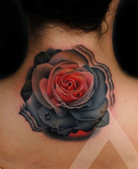 dark red rose tattoos 57 realistic roses neck tattoos