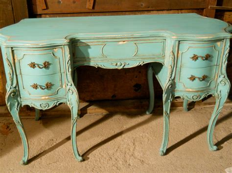 Vintage French Provincial Hand Painted Aqua Desk Reserved Painted Desk