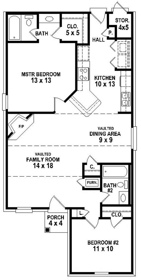 654334 Simple 2 Bedroom 2 Bath House Plan House Plans Floor Plans Home Plans
