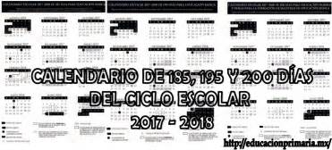 Calendario 2018 Sep Calendario De 185 195 Y 200 D 237 As Para El Ciclo Escolar