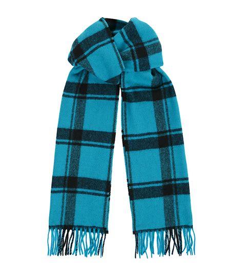 lanvin tartan scarf in blue for lyst