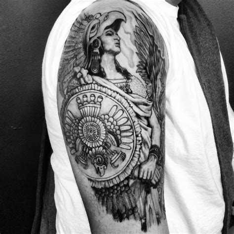 black and white tattoos for men black and white aztec warrior for