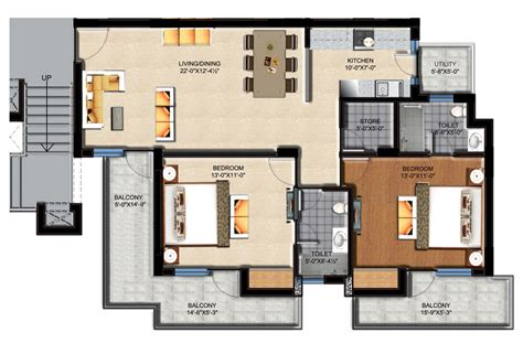 2 bhk flat design plans sushma green vista zirakpur propertyatdoorstep